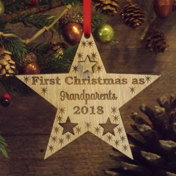 Grandparents First 1st Christmas Personalised Star Decoration Gift